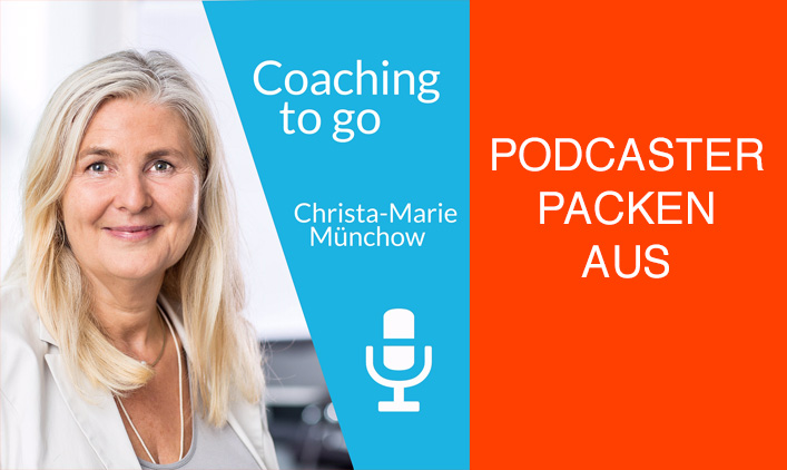 "Cover coaching to go daneben Text ""Podcaster packen aus"""