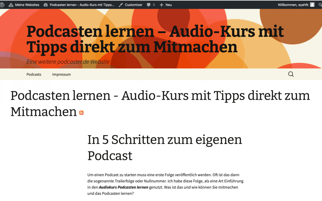 Wordpress-Frontend-Blog podcaster.de