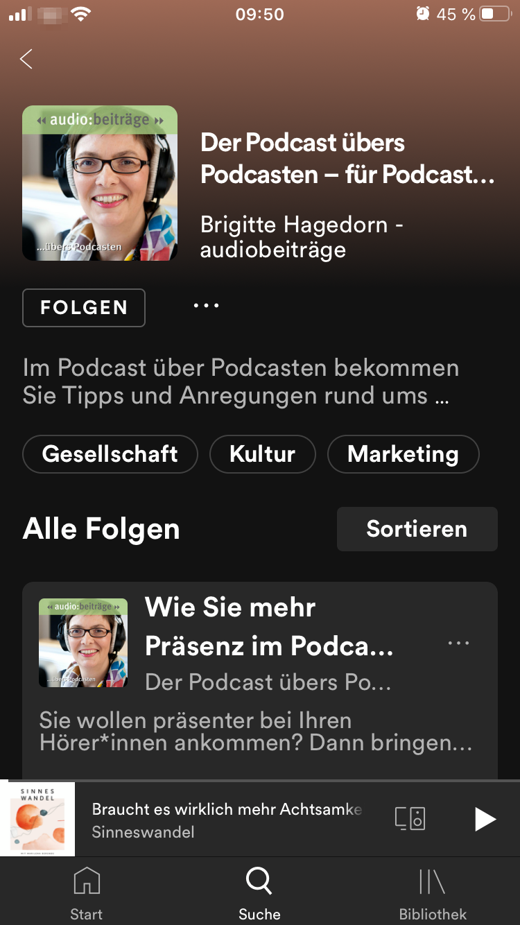 Podcast übers Podcasten in Spotify